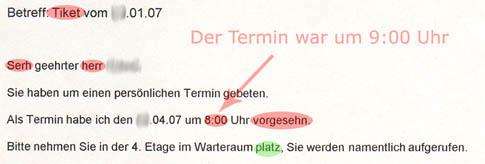 Brief vom Jobcenter Pankow / Frau Assenbaum