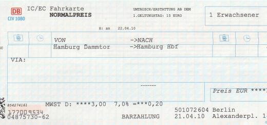"""Screenshot von meinem """"Dammtor Ticket"""""""
