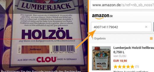 Der Strichcode wird von der App in das Amazon Suchfeld eingetragen und das Produkt angezeigt