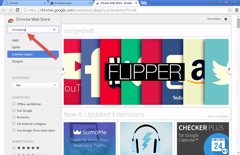 Google Chrome Web Store Visualping Erweiterung