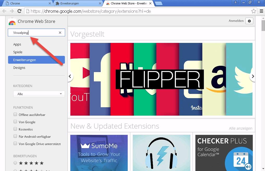 Google Chrome Web Store Visualping Erweiterung