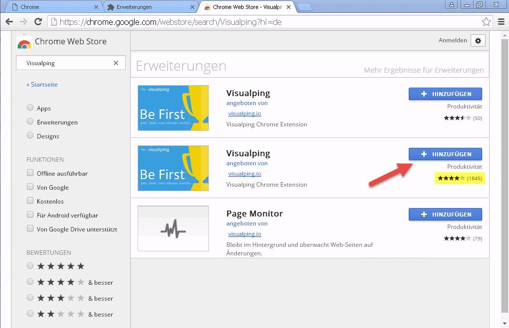 Web Store zweites Visualping Suchergebnis wählen