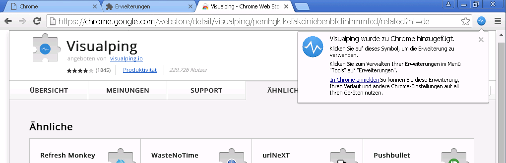 Visualping Plugin ist in Google Chrome installiert