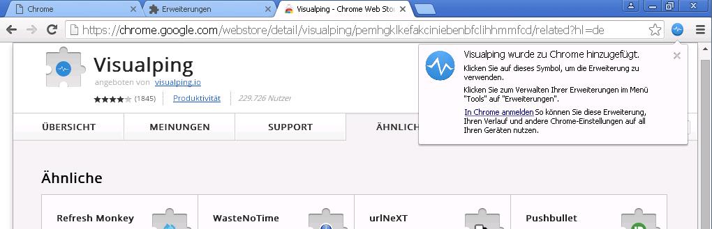 Visualping Plugin ist in Google Chrome installiert