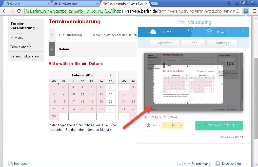 Visualping aufgezogenes Rechteck über den Kalender